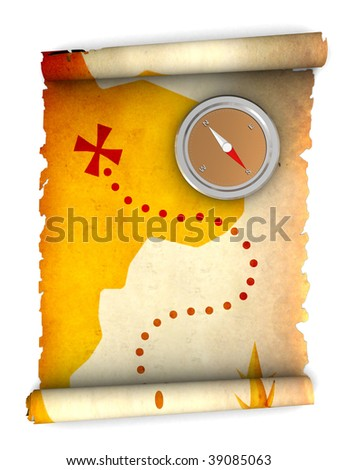 3d illustration of rolled treasure map and compass - stock photo
