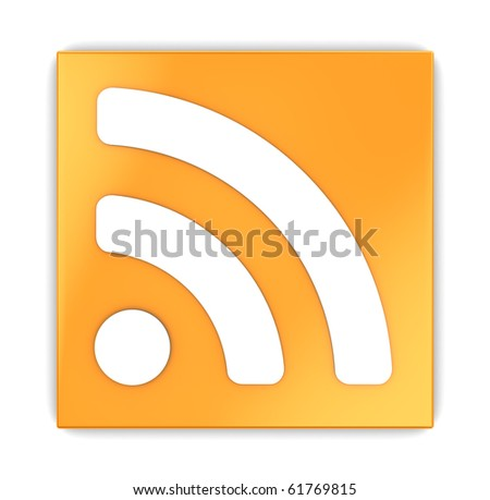 3d illustration of rss icon square over white background - stock photo