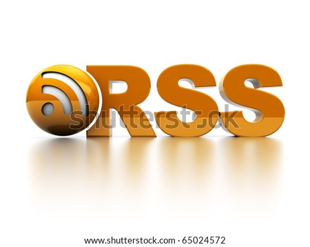 3d illustration of rss sign and symbol over white background