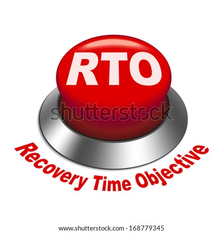 recovery point objective template - 3d illustration of rto recovery time objective button