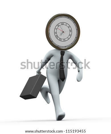 3d Illustration of running clock head man with briefcase . 3d rendering of human character businessman - stock photo