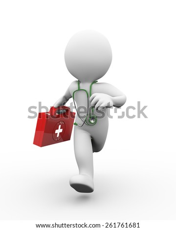 3d illustration of running doctor with first aid box and stethoscope. 3d rendering of human people character. - stock photo