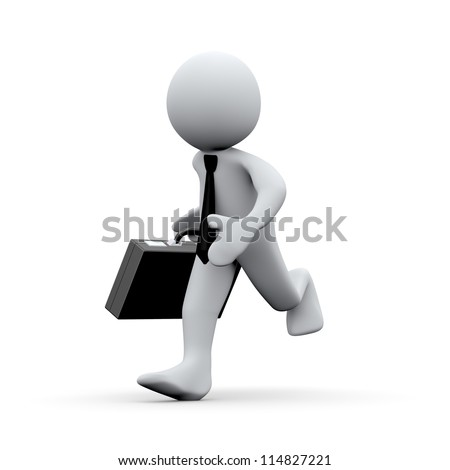 3d Illustration of running man with briefcase . 3d rendering of human character businessman. - stock photo