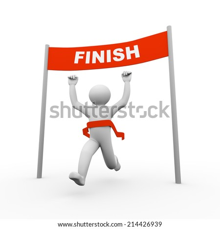 3d illustration of running person crossing winning finish line. 3d human person character and white people - stock photo