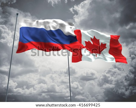 3D illustration of Russia & Canada Flags are waving in the sky with dark clouds