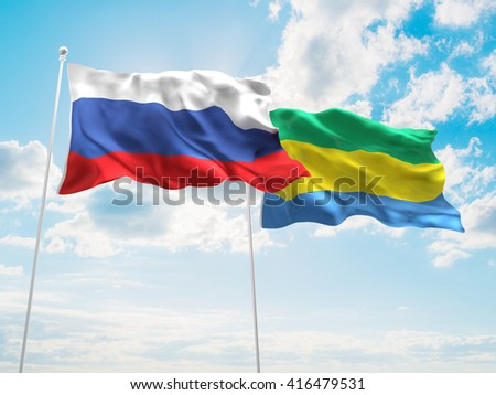 3D illustration of Russia & Gabon Flags are waving in the sky