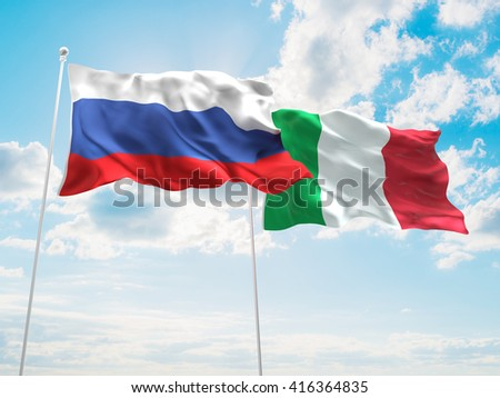 3D illustration of Russia & Italy Flags are waving in the sky - stock photo