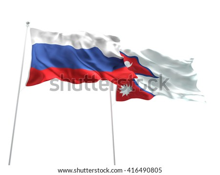 3D illustration of Russia & Nepal Flags are waving on the isolated white background - stock photo