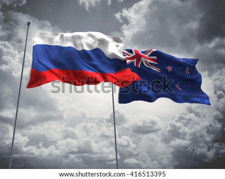 3D illustration of Russia & New Zealand Flags are waving in the sky with dark clouds