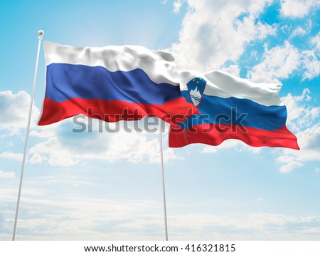 3D illustration of Russia & Slovenia Flags are waving in the sky