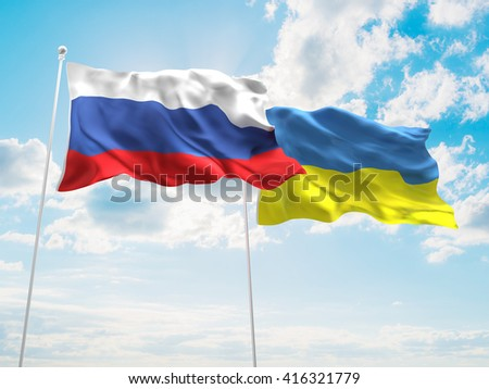 3D illustration of Russia & Ukraine Flags are waving in the sky - stock photo