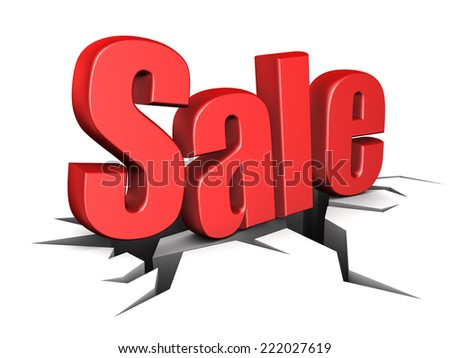 3d illustration of sale sign on ground with crack - stock photo