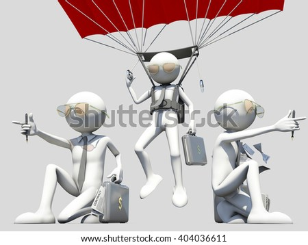 3d illustration of salesman team - stock photo