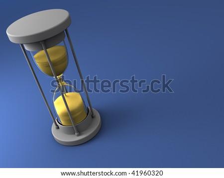 3d illustration of sand clock over blue background - stock photo