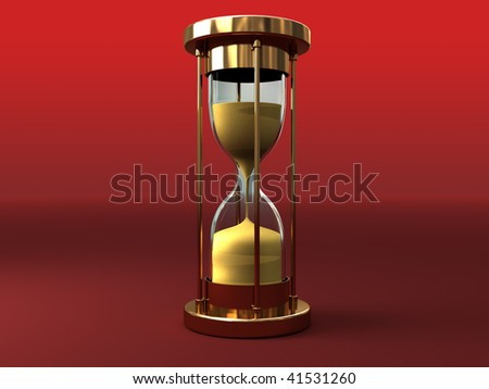 3d illustration of sand clock over red background - stock photo