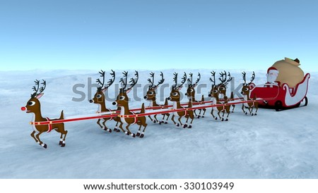 3D illustration of Santa Claus and sled