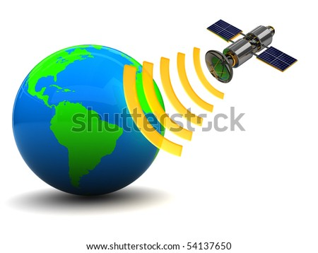 3d illustration of satellite and earth globe, over white background - stock photo