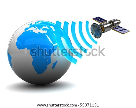 3d illustration of satellite broadcasting to earth globe - stock photo