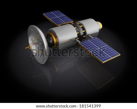 3d illustration of satellite model over black background - stock photo
