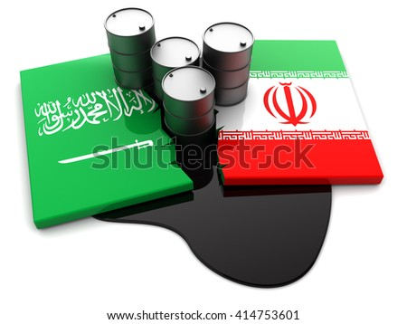 3d illustration of Saudi Arabia and Iran conflict concept - stock photo