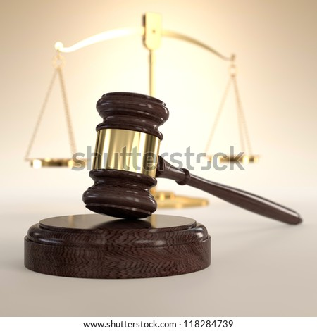 3D illustration of scales of justice and gavel on orange background - stock photo