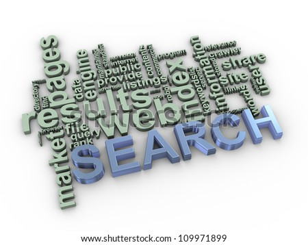 3d Illustration of search wordcloud - stock photo