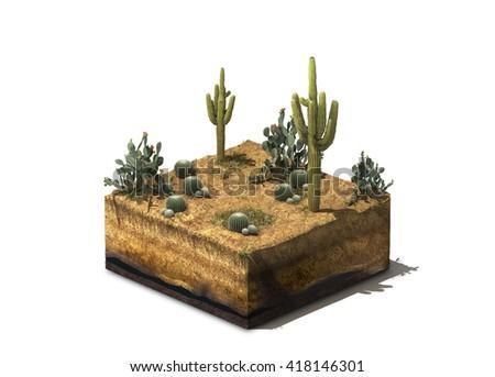 3d Illustration of section of desert, isolated on white background - stock photo
