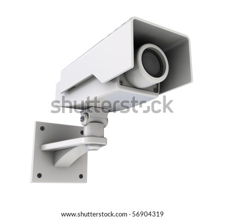 3d illustration of security camera isolated over white background - stock photo