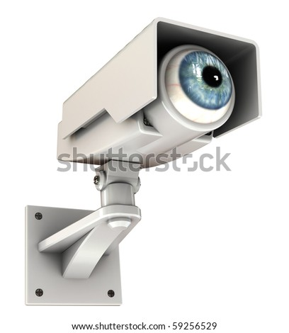 3d illustration of security camera with eye, big brother concept