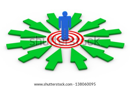 3d illustration of selected person on target surrounded by green arrows. Concept of targeting buyer, unique selection, success, goal achievement - stock photo