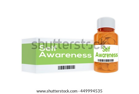 """3D illustration of """"Self Awareness"""" title on pill bottle, isolated on white. Human personality concept. - stock photo"""