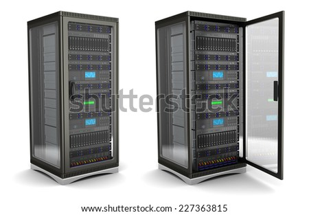 3d illustration of server rack stand opened and closed, over white background - stock photo