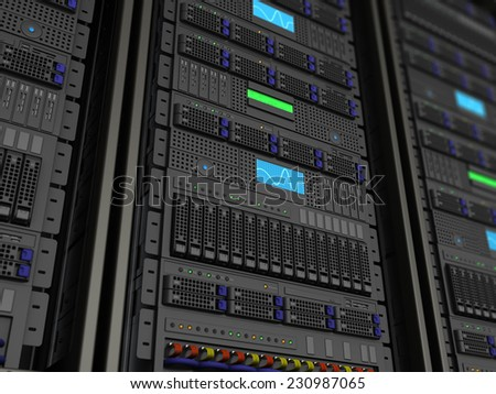 3d illustration of server rack stnad closeup background - stock photo