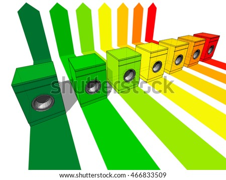 3d illustration of seven washing machines certified in seven energetic classes