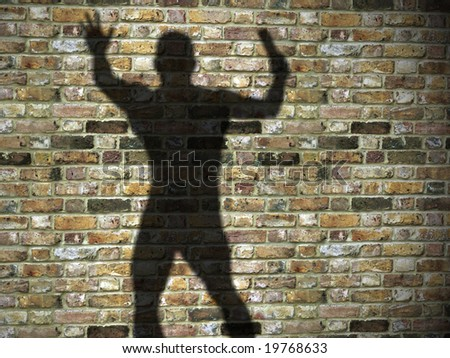 3d illustration of shadow on the wall, maniac, killer with blade - stock photo