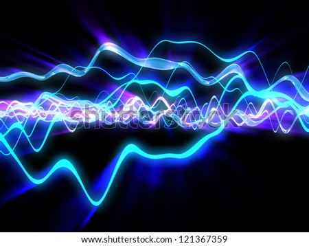 3d illustration of shining electric waves background