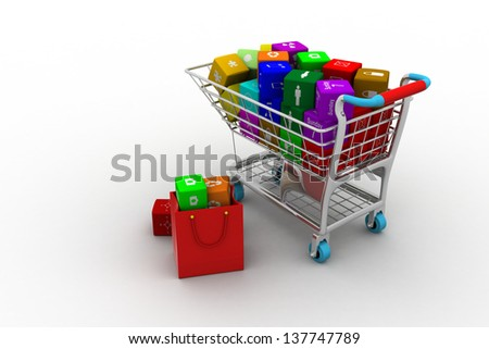 3d illustration of shopping basket with media boxes. Isolated on white background
