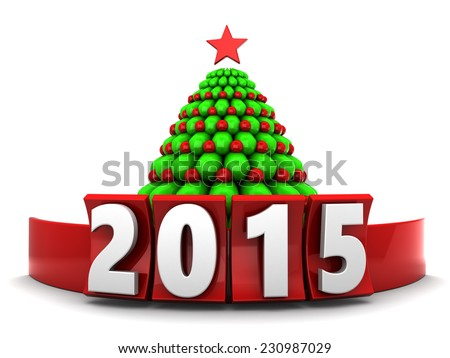 3d illustration of sign 2015 and xmas tree, over white background - stock photo