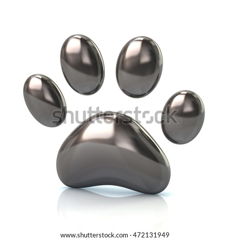 3d illustration of silver paw print icon isolated on white background