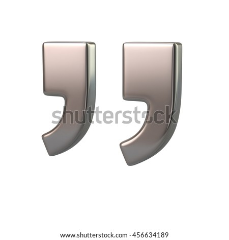 3d illustration of silver quote marks isolated on white background
