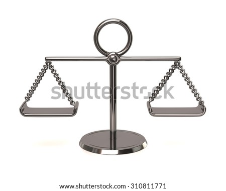 3d illustration of silver scales - stock photo