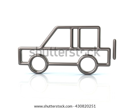 3d illustration of silver suv car icon isolated on white background - stock photo
