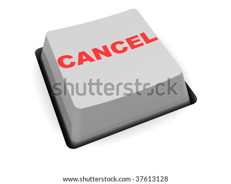 3d illustration of simple cancel button over white background
