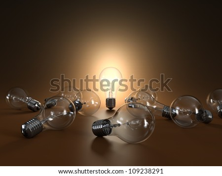 3D illustration of simple light bulbs isolated on orange background - stock photo