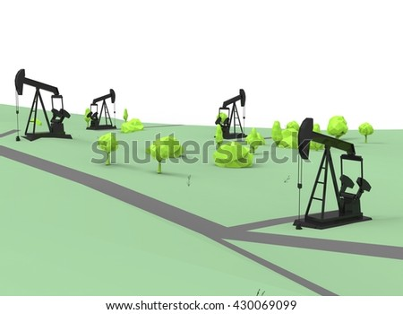 3d illustration of simple oil derricks with trees. low poly triangles and polygons style. icon for game web. green black texture color. white background isolated with shadow. simple to use.  - stock photo