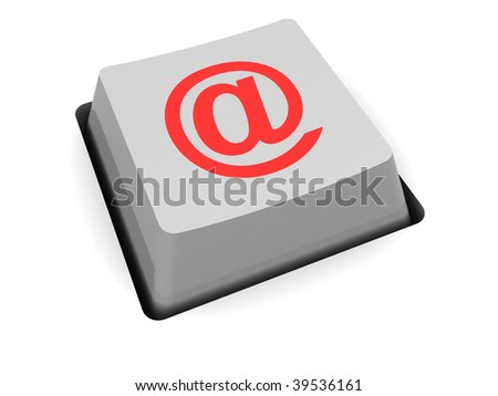 3d illustration of single computer key with email symbol