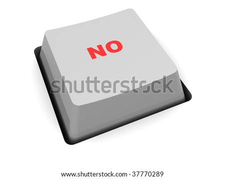 3d illustration of single computer key with 'no' caption