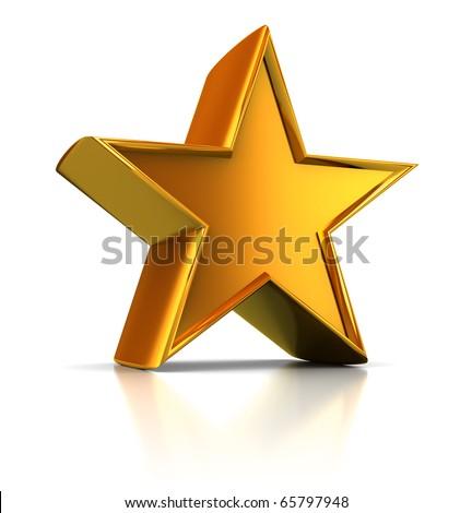 3d illustration of single golden star shape over white background - stock photo