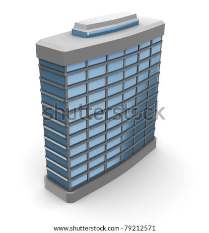 3d illustration of single office building over white background - stock photo