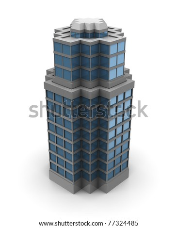 3d illustration of single skyscraper building - stock photo